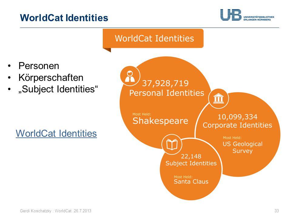 "Gerdi Koschatzky : WorldCat 26.7.201333 Personen Körperschaften ""Subject Identities"" WorldCat Identities"