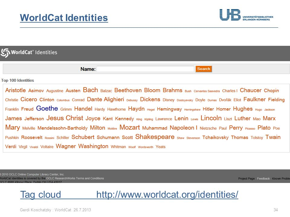 Gerdi Koschatzky : WorldCat 26.7.201334 Tag cloud http://www.worldcat.org/identities/