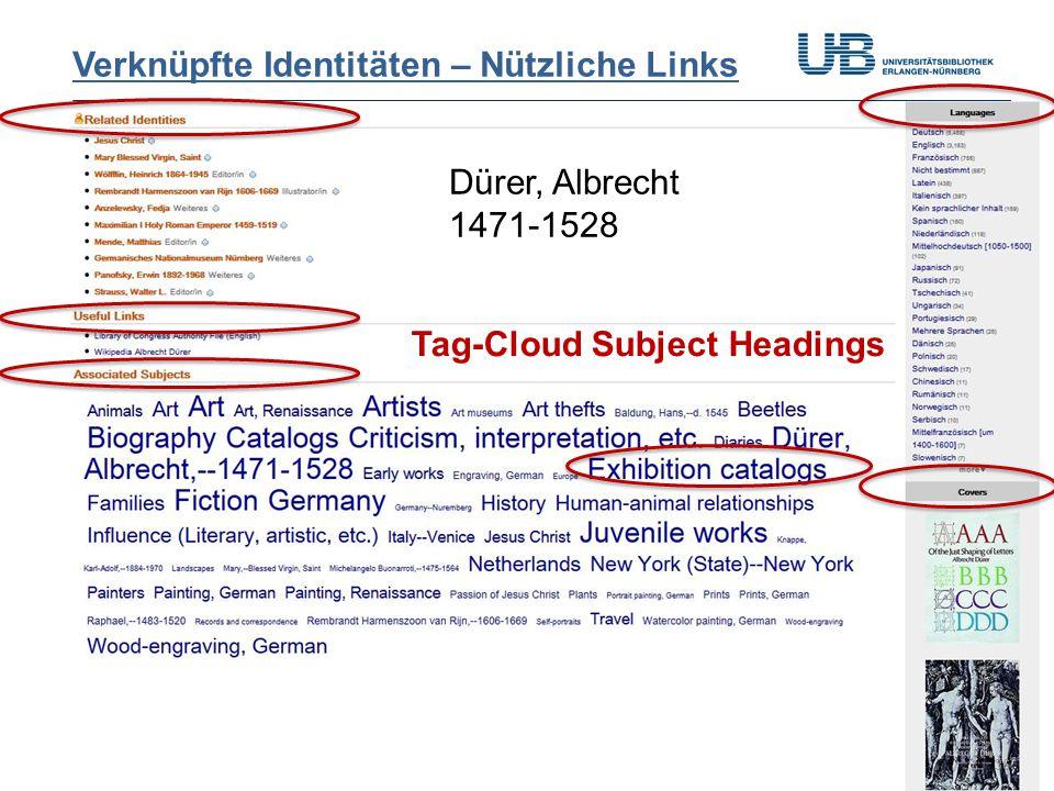 Verknüpfte Identitäten – Nützliche Links Gerdi Koschatzky : WorldCat 26.7.201336 Tag-Cloud Subject Headings Dürer, Albrecht 1471-1528