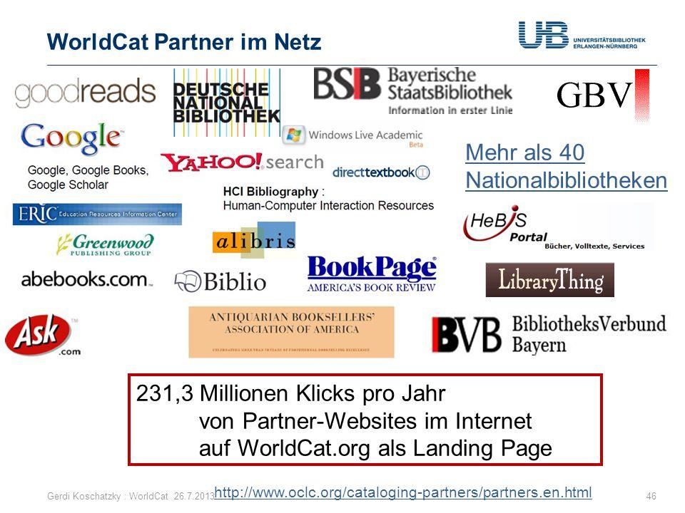 WorldCat Partner im Netz 46 231,3 Millionen Klicks pro Jahr von Partner-Websites im Internet auf WorldCat.org als Landing Page Gerdi Koschatzky : Worl