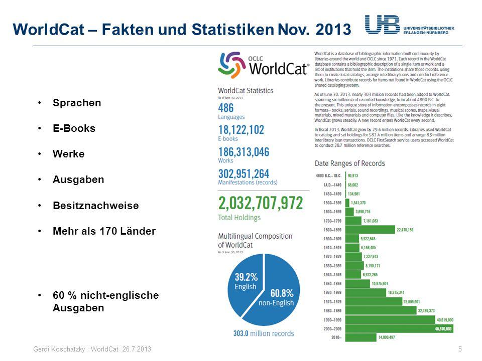 WorldCat Partner im Netz 46 231,3 Millionen Klicks pro Jahr von Partner-Websites im Internet auf WorldCat.org als Landing Page Gerdi Koschatzky : WorldCat 26.7.2013 Mehr als 40 Nationalbibliotheken http://www.oclc.org/cataloging-partners/partners.en.html
