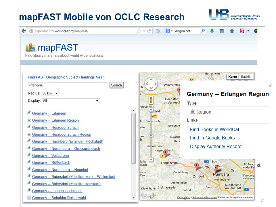 mapFAST Mobile von OCLC Research Gerdi Koschatzky : WorldCat 26.7.201354 Neu seit Juni 2013 http://journal.code4lib.org/articles/5645