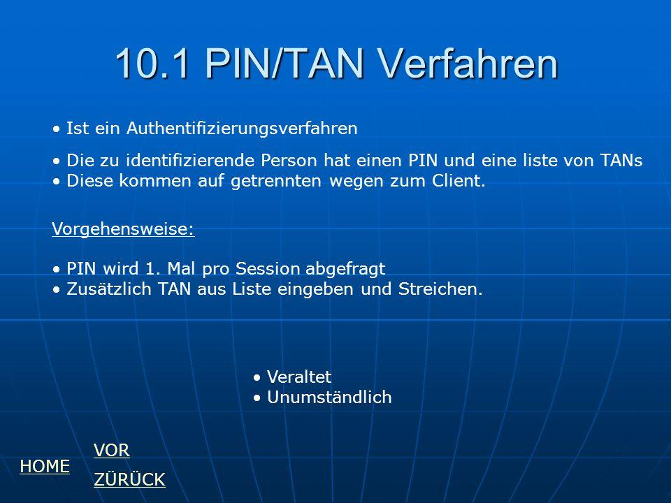 10.1 PIN/TAN Verfahren Ist ein Authentifizierungsverfahren Die zu identifizierende Person hat einen PIN und eine liste von TANs Diese kommen auf getre