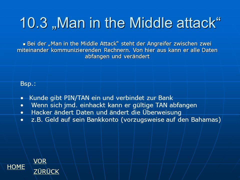 """10.3 """"Man in the Middle attack"""" Bsp.: Kunde gibt PIN/TAN ein und verbindet zur Bank Wenn sich jmd. einhackt kann er gültige TAN abfangen Hacker ändert"""