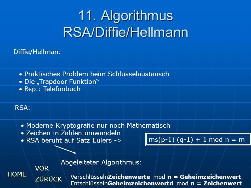"""11. Algorithmus RSA/Diffie/Hellmann Diffie/Hellman: Praktisches Problem beim Schlüsselaustausch Die """"Trapdoor Funktion"""" Bsp.: Telefonbuch RSA: Moderne"""