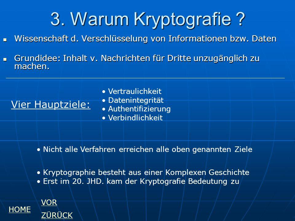 3. Warum Kryptografie ? Wissenschaft d. Verschlüsselung von Informationen bzw. Daten Wissenschaft d. Verschlüsselung von Informationen bzw. Daten Grun