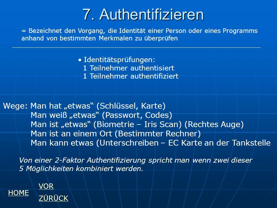 7. Authentifizieren = Bezeichnet den Vorgang, die Identität einer Person oder eines Programms anhand von bestimmten Merkmalen zu überprüfen Identitäts
