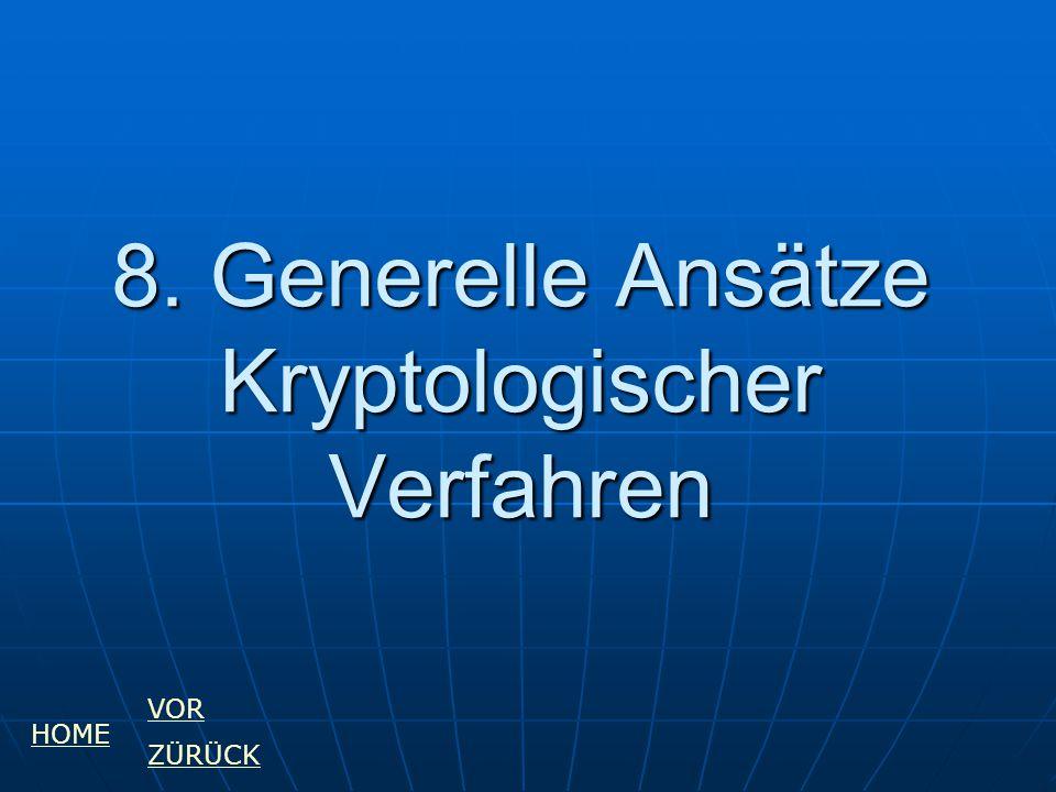 8. Generelle Ansätze Kryptologischer Verfahren HOME VOR ZÜRÜCK