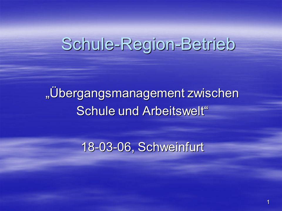 """1 Schule-Region-Betrieb """"Übergangsmanagement zwischen Schule und Arbeitswelt"""" 18-03-06, Schweinfurt"""