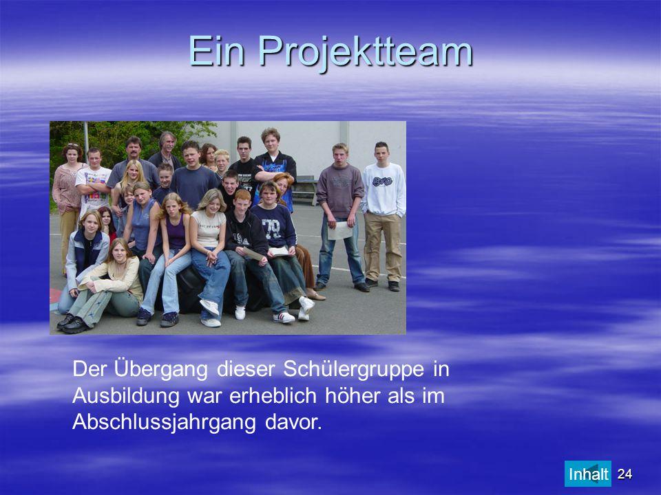 24 Ein Projektteam Der Übergang dieser Schülergruppe in Ausbildung war erheblich höher als im Abschlussjahrgang davor. Inhalt