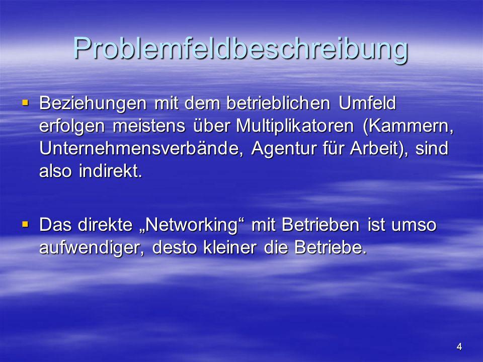 4 Problemfeldbeschreibung  Beziehungen mit dem betrieblichen Umfeld erfolgen meistens über Multiplikatoren (Kammern, Unternehmensverbände, Agentur fü