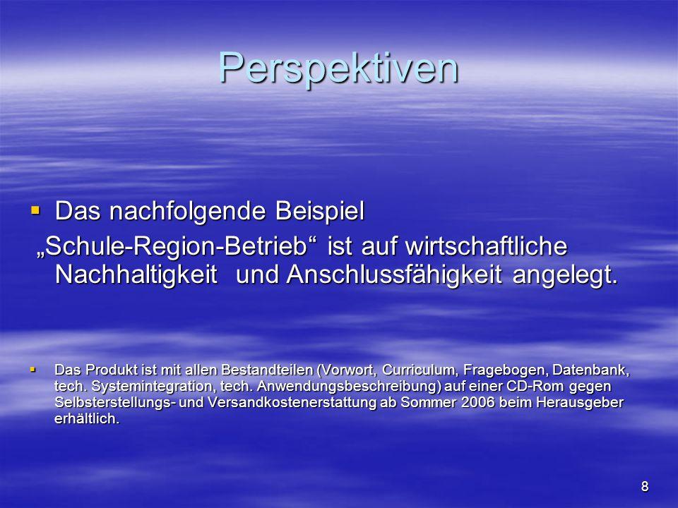 """8 Perspektiven  Das nachfolgende Beispiel """"Schule-Region-Betrieb"""" ist auf wirtschaftliche Nachhaltigkeit und Anschlussfähigkeit angelegt. """"Schule-Reg"""