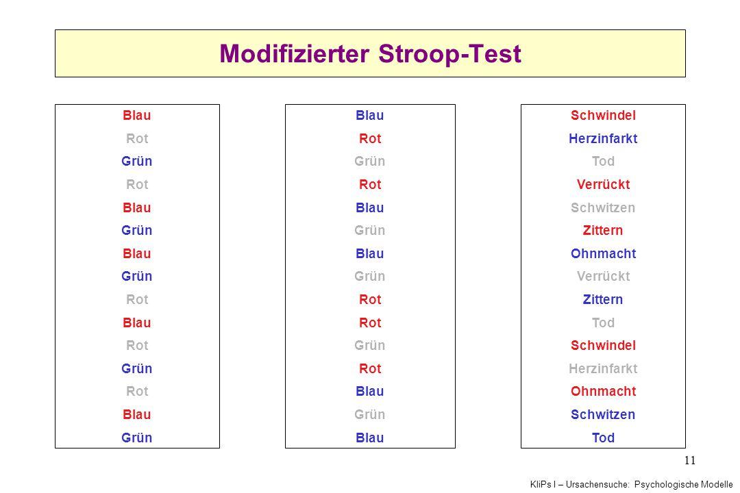 KliPs I – Ursachensuche: Psychologische Modelle 11 Modifizierter Stroop-Test Blau Rot Grün Rot Blau Grün Blau Grün Rot Blau Rot Grün Rot Blau Grün Bla