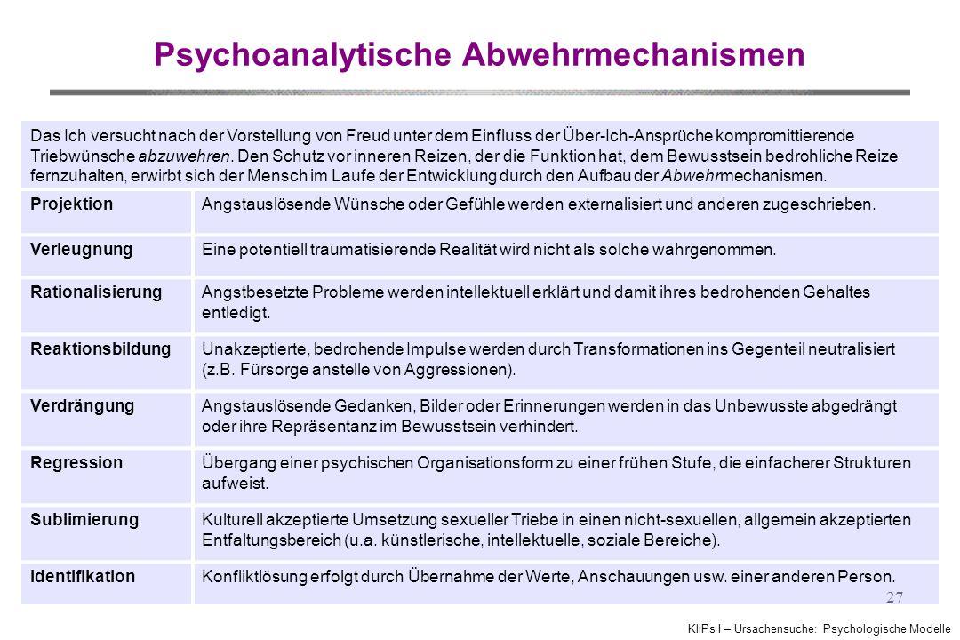 KliPs I – Ursachensuche: Psychologische Modelle 27 Psychoanalytische Abwehrmechanismen Das Ich versucht nach der Vorstellung von Freud unter dem Einfluss der Über-Ich-Ansprüche kompromittierende Triebwünsche abzuwehren.