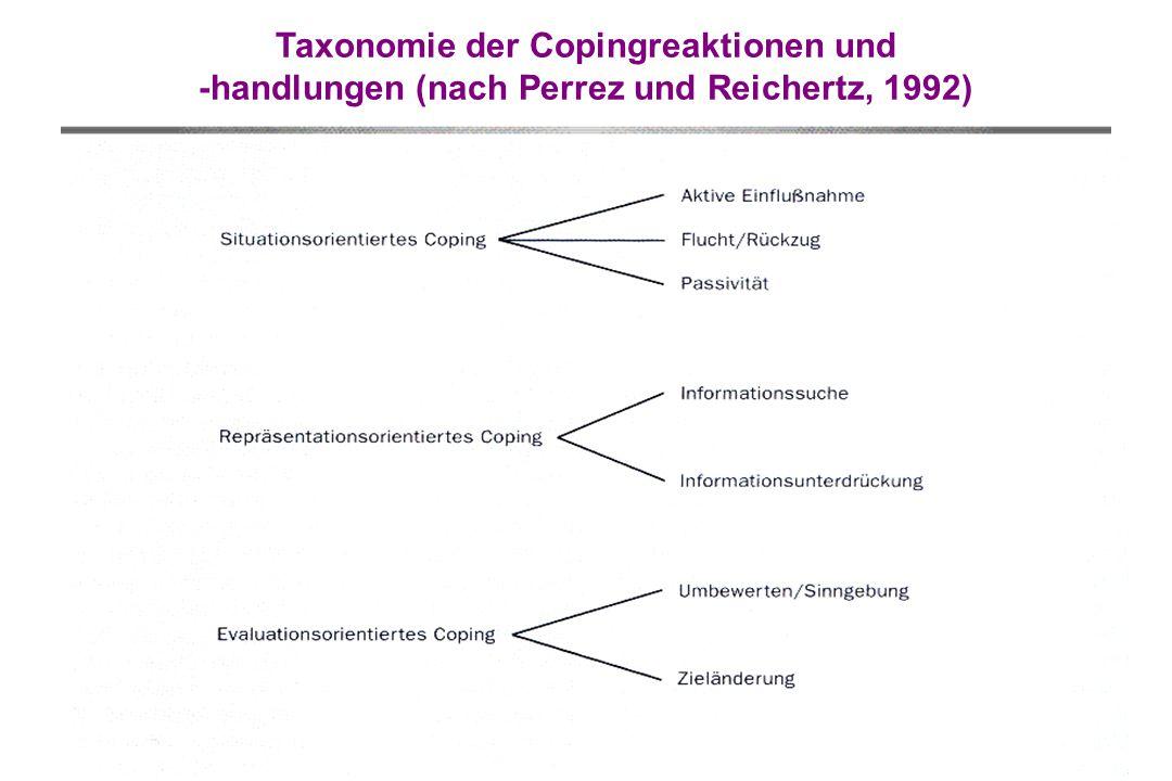 Taxonomie der Copingreaktionen und -handlungen (nach Perrez und Reichertz, 1992)