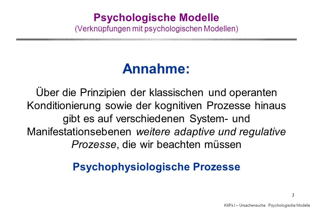 KliPs I – Ursachensuche: Psychologische Modelle 3 Psychologische Modelle (Verknüpfungen mit psychologischen Modellen) Annahme: Über die Prinzipien der