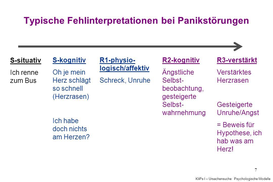 KliPs I – Ursachensuche: Psychologische Modelle 7 Typische Fehlinterpretationen bei Panikstörungen S-situativ Ich renne zum Bus S-kognitiv Oh je mein