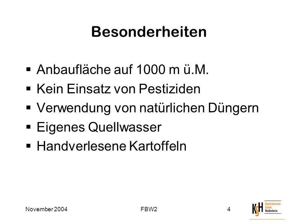 November 2004FBW24 Besonderheiten  Anbaufläche auf 1000 m ü.M.