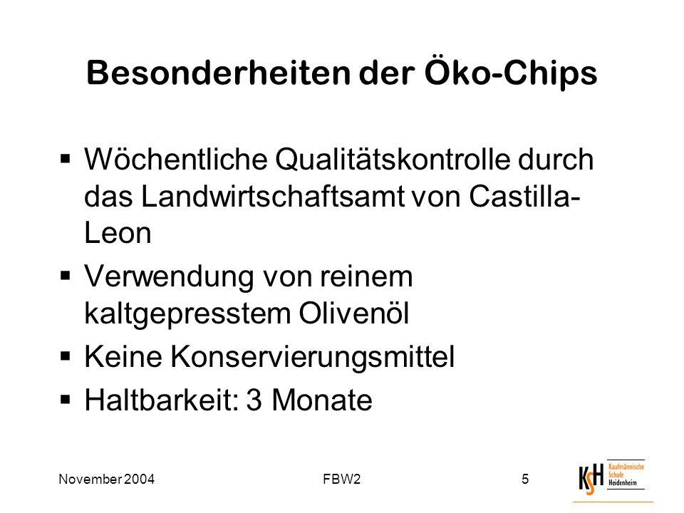 November 2004FBW25 Besonderheiten der Öko-Chips  Wöchentliche Qualitätskontrolle durch das Landwirtschaftsamt von Castilla- Leon  Verwendung von reinem kaltgepresstem Olivenöl  Keine Konservierungsmittel  Haltbarkeit: 3 Monate