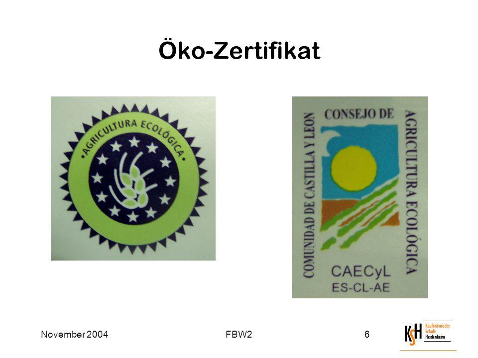 November 2004FBW26 Öko-Zertifikat