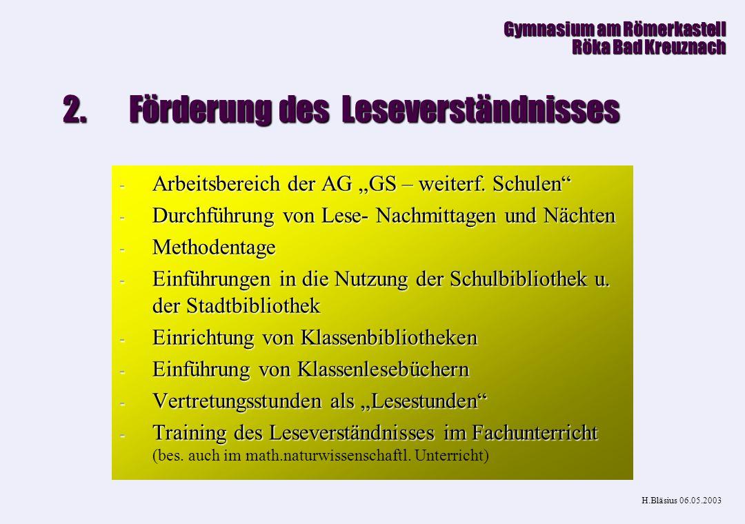 1.Kooperation Gymnasium am Römerkastell Röka Bad Kreuznach H.Bläsius 06.08.2003 Fachebene Fachebene -Stoffverteilung -Stoffverteilung (Studientag) -Er
