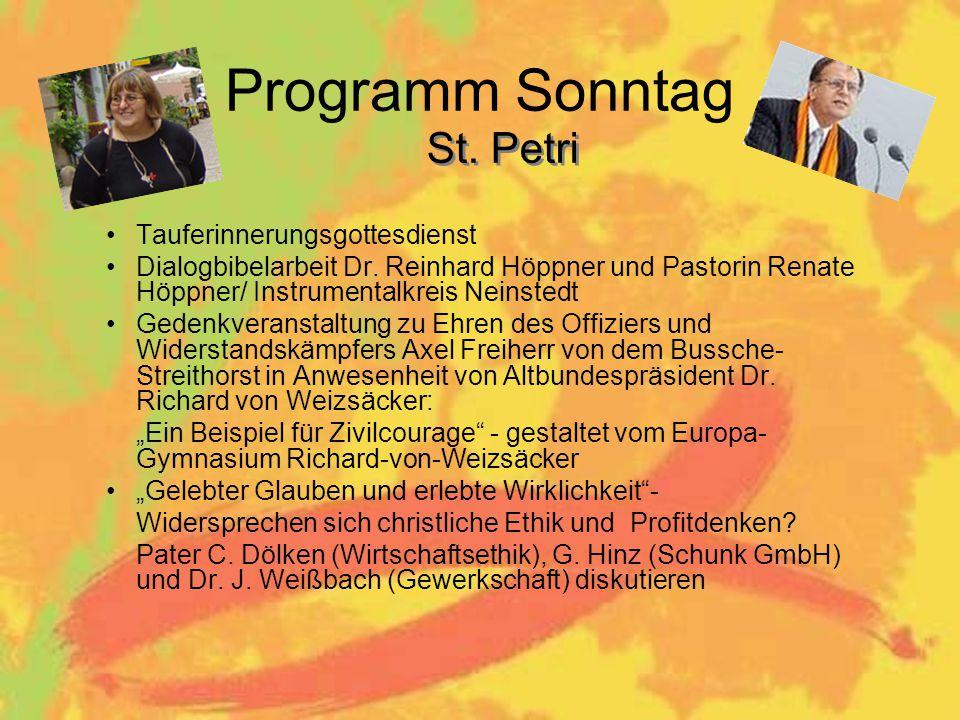 Programm Sonntag Tauferinnerungsgottesdienst Dialogbibelarbeit Dr.