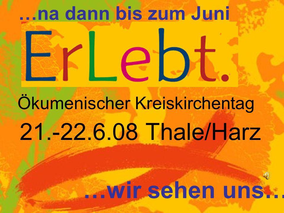 Ökumenischer Kreiskirchentag 21.-22.6.08 Thale/Harz …wir sehen uns… …na dann bis zum Juni