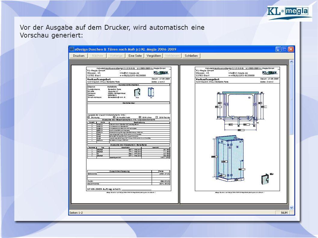 Vor der Ausgabe auf dem Drucker, wird automatisch eine Vorschau generiert: