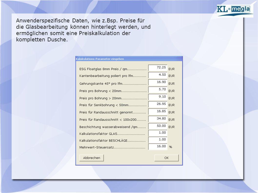 Anwenderspezifische Daten, wie z.Bsp.