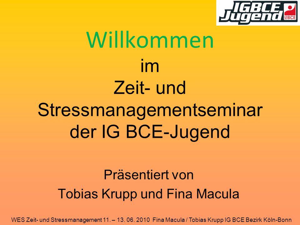 WES Zeit- und Stressmanagement 11. – 13. 06. 2010 Fina Macula / Tobias Krupp IG BCE Bezirk Köln-Bonn Willkommen im Zeit- und Stressmanagementseminar d