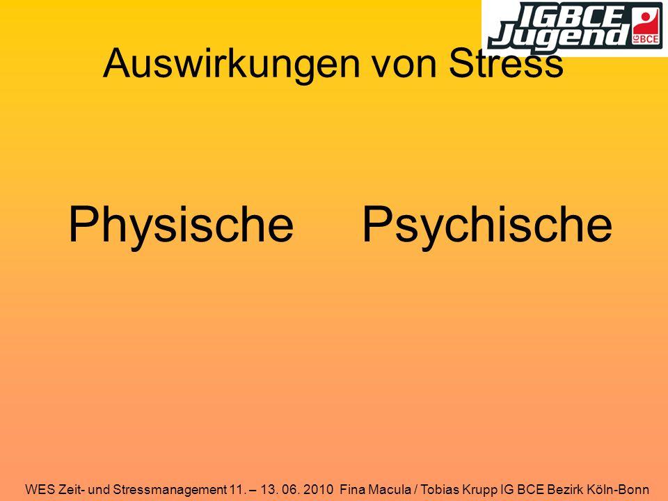 WES Zeit- und Stressmanagement 11. – 13. 06. 2010 Fina Macula / Tobias Krupp IG BCE Bezirk Köln-Bonn Auswirkungen von Stress PhysischePsychische