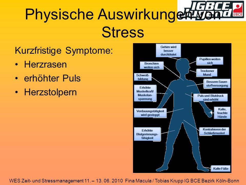 WES Zeit- und Stressmanagement 11. – 13. 06. 2010 Fina Macula / Tobias Krupp IG BCE Bezirk Köln-Bonn Physische Auswirkungen von Stress Kurzfristige Sy