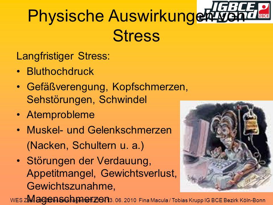 WES Zeit- und Stressmanagement 11. – 13. 06. 2010 Fina Macula / Tobias Krupp IG BCE Bezirk Köln-Bonn Physische Auswirkungen von Stress Langfristiger S