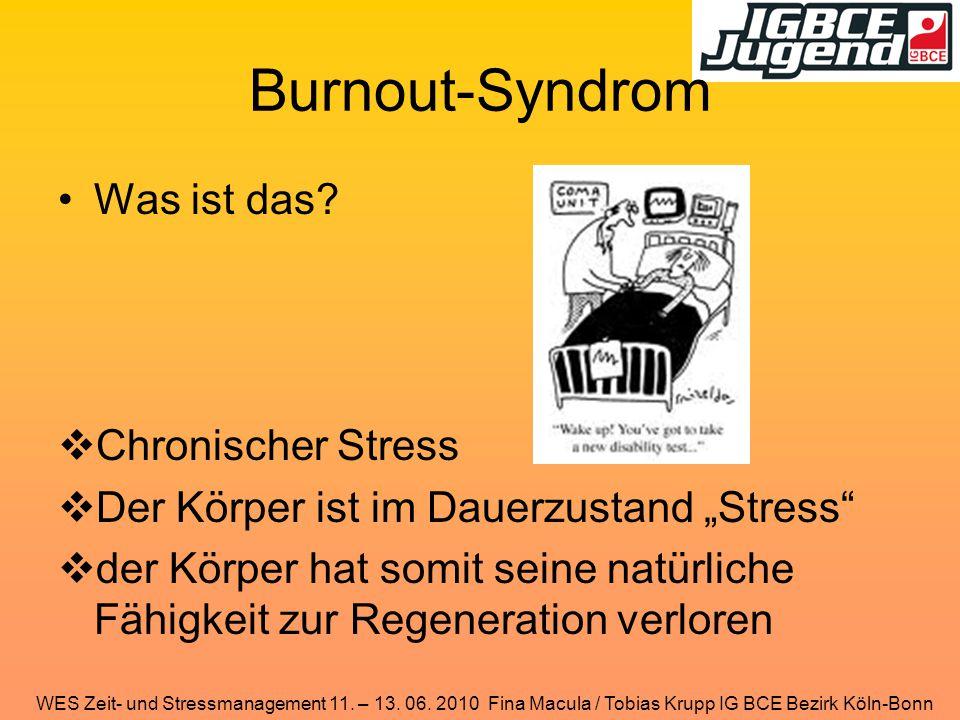 WES Zeit- und Stressmanagement 11. – 13. 06. 2010 Fina Macula / Tobias Krupp IG BCE Bezirk Köln-Bonn Burnout-Syndrom Was ist das?  Chronischer Stress