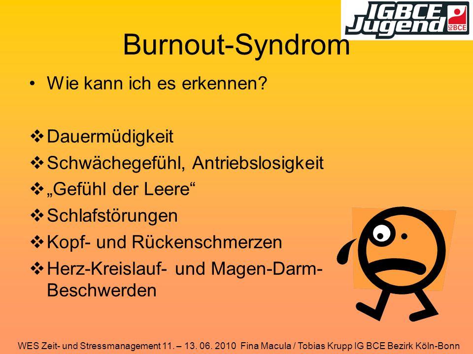 WES Zeit- und Stressmanagement 11. – 13. 06. 2010 Fina Macula / Tobias Krupp IG BCE Bezirk Köln-Bonn Burnout-Syndrom Wie kann ich es erkennen?  Dauer