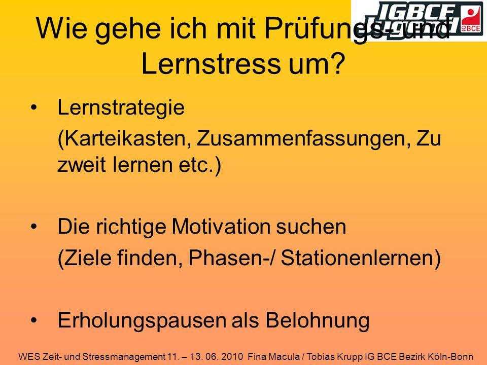 WES Zeit- und Stressmanagement 11. – 13. 06. 2010 Fina Macula / Tobias Krupp IG BCE Bezirk Köln-Bonn Wie gehe ich mit Prüfungs- und Lernstress um? Ler