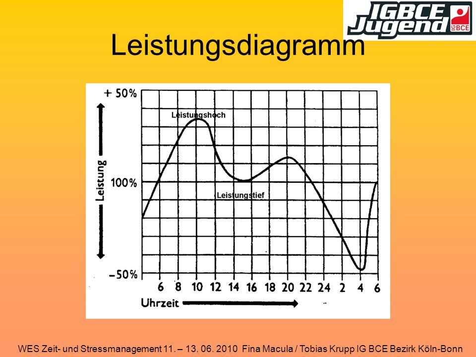 WES Zeit- und Stressmanagement 11. – 13. 06. 2010 Fina Macula / Tobias Krupp IG BCE Bezirk Köln-Bonn Leistungsdiagramm
