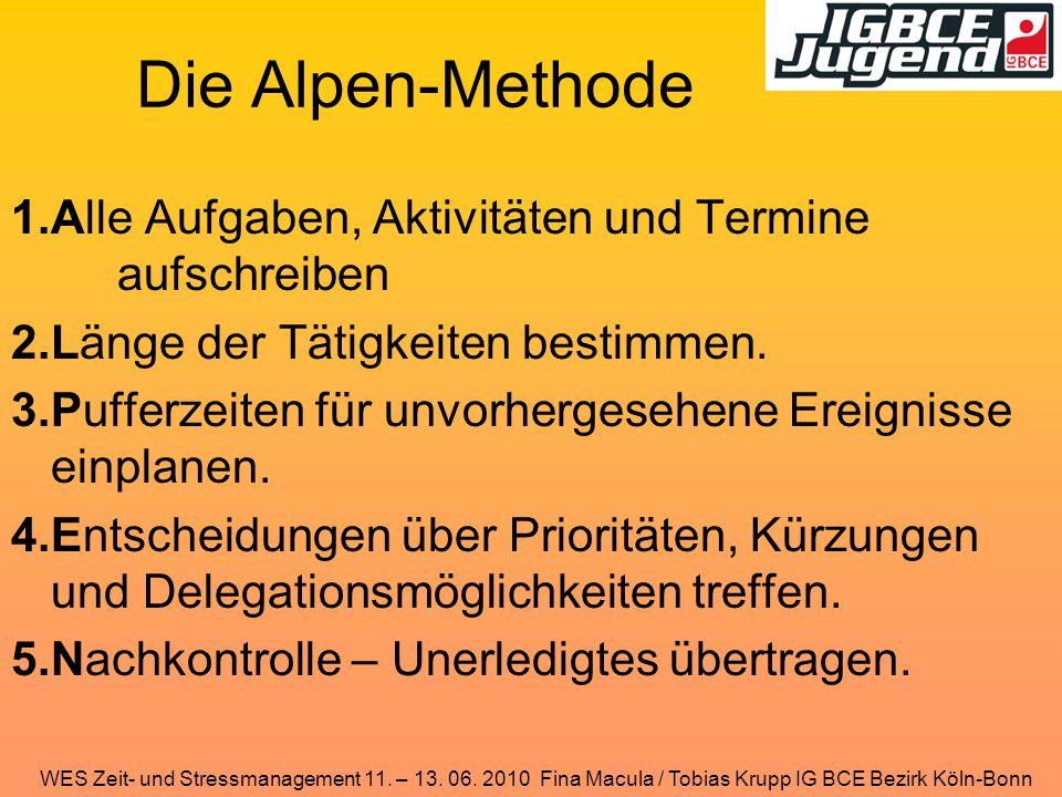 WES Zeit- und Stressmanagement 11. – 13. 06. 2010 Fina Macula / Tobias Krupp IG BCE Bezirk Köln-Bonn Die Alpen-Methode 1.Alle Aufgaben, Aktivitäten un