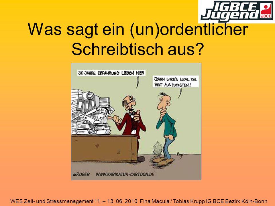 WES Zeit- und Stressmanagement 11. – 13. 06. 2010 Fina Macula / Tobias Krupp IG BCE Bezirk Köln-Bonn Was sagt ein (un)ordentlicher Schreibtisch aus?