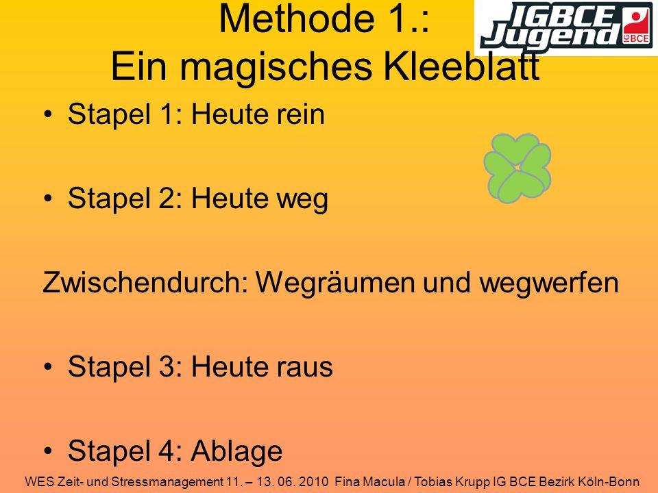 WES Zeit- und Stressmanagement 11. – 13. 06. 2010 Fina Macula / Tobias Krupp IG BCE Bezirk Köln-Bonn Methode 1.: Ein magisches Kleeblatt Stapel 1: Heu