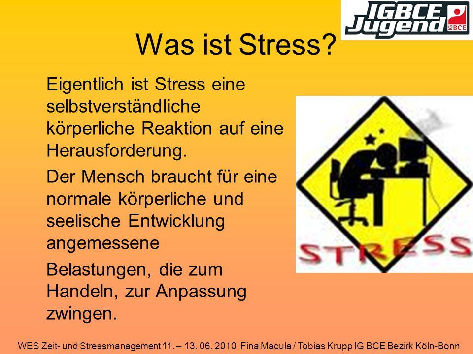 WES Zeit- und Stressmanagement 11. – 13. 06. 2010 Fina Macula / Tobias Krupp IG BCE Bezirk Köln-Bonn Was ist Stress? Eigentlich ist Stress eine selbst