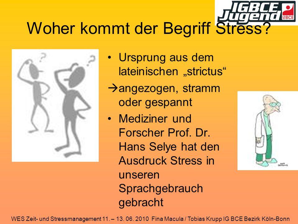 WES Zeit- und Stressmanagement 11. – 13. 06. 2010 Fina Macula / Tobias Krupp IG BCE Bezirk Köln-Bonn Woher kommt der Begriff Stress? Ursprung aus dem