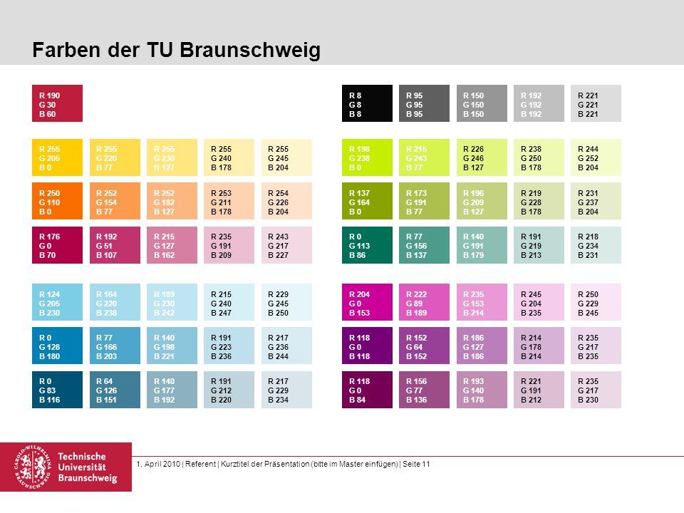 1. April 2010 | Referent | Kurztitel der Präsentation (bitte im Master einfügen) | Seite 11 Farben der TU Braunschweig R 255 G 205 B 0 R 190 G 30 B 60