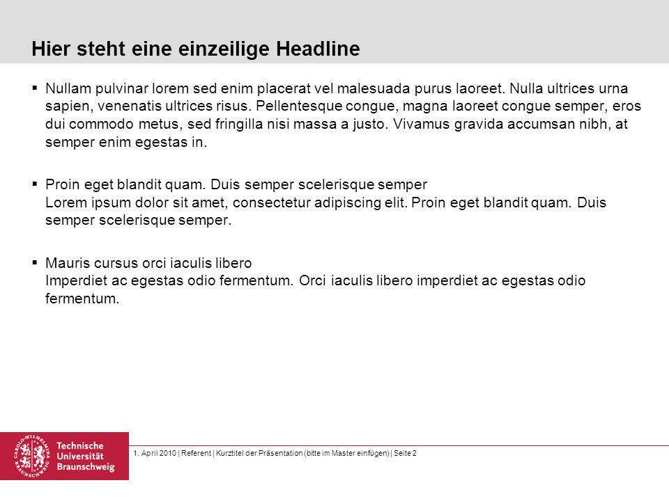 1. April 2010 | Referent | Kurztitel der Präsentation (bitte im Master einfügen) | Seite 2 Hier steht eine einzeilige Headline  Nullam pulvinar lorem