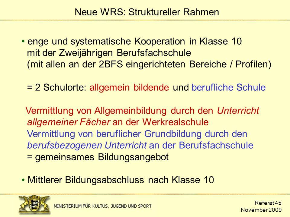 Referat 45 November 2009 enge und systematische Kooperation in Klasse 10 mit der Zweijährigen Berufsfachschule (mit allen an der 2BFS eingerichteten B