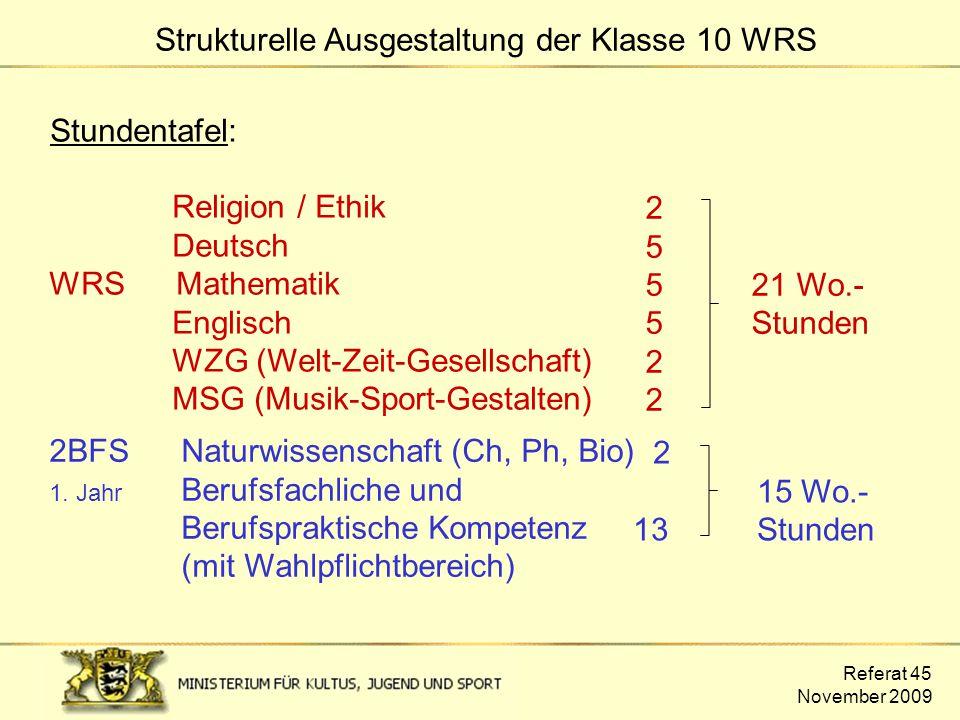 Referat 45 November 2009 Stundentafel: Religion / Ethik Deutsch WRS Mathematik Englisch WZG (Welt-Zeit-Gesellschaft) MSG (Musik-Sport-Gestalten) 2 5 5