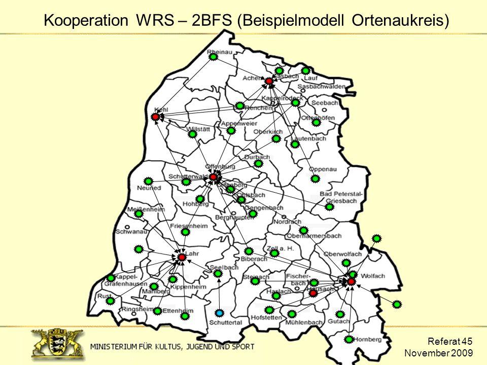 Referat 45 November 2009 Kooperation WRS – 2BFS (Beispielmodell Ortenaukreis)