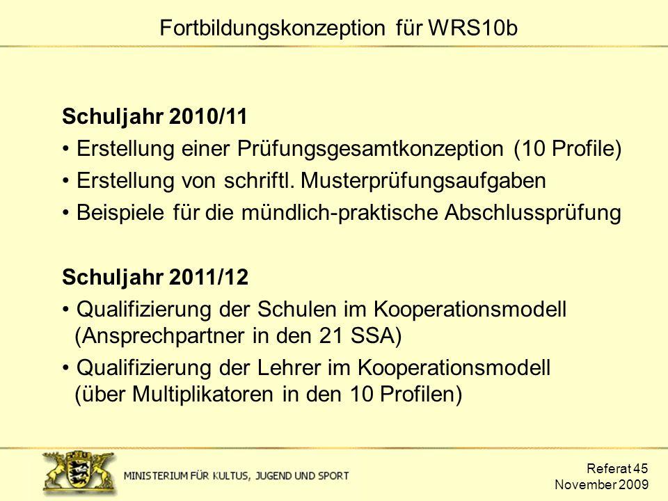 Referat 45 November 2009 Fortbildungskonzeption für WRS10b Schuljahr 2010/11 Erstellung einer Prüfungsgesamtkonzeption (10 Profile) Erstellung von sch