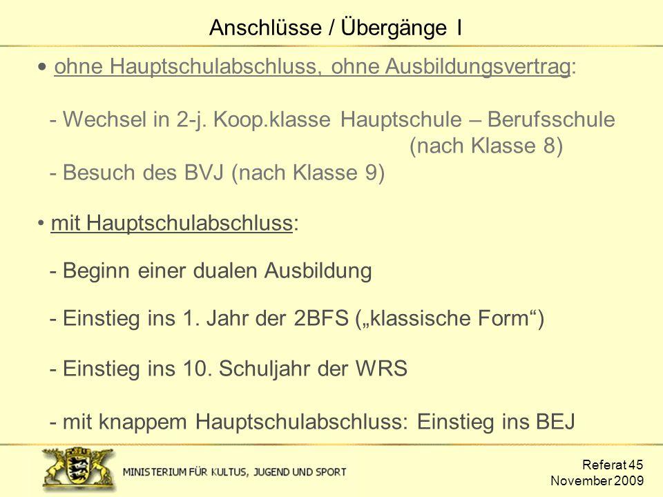 Referat 45 November 2009 ohne Hauptschulabschluss, ohne Ausbildungsvertrag: - Wechsel in 2-j. Koop.klasse Hauptschule – Berufsschule (nach Klasse 8) -