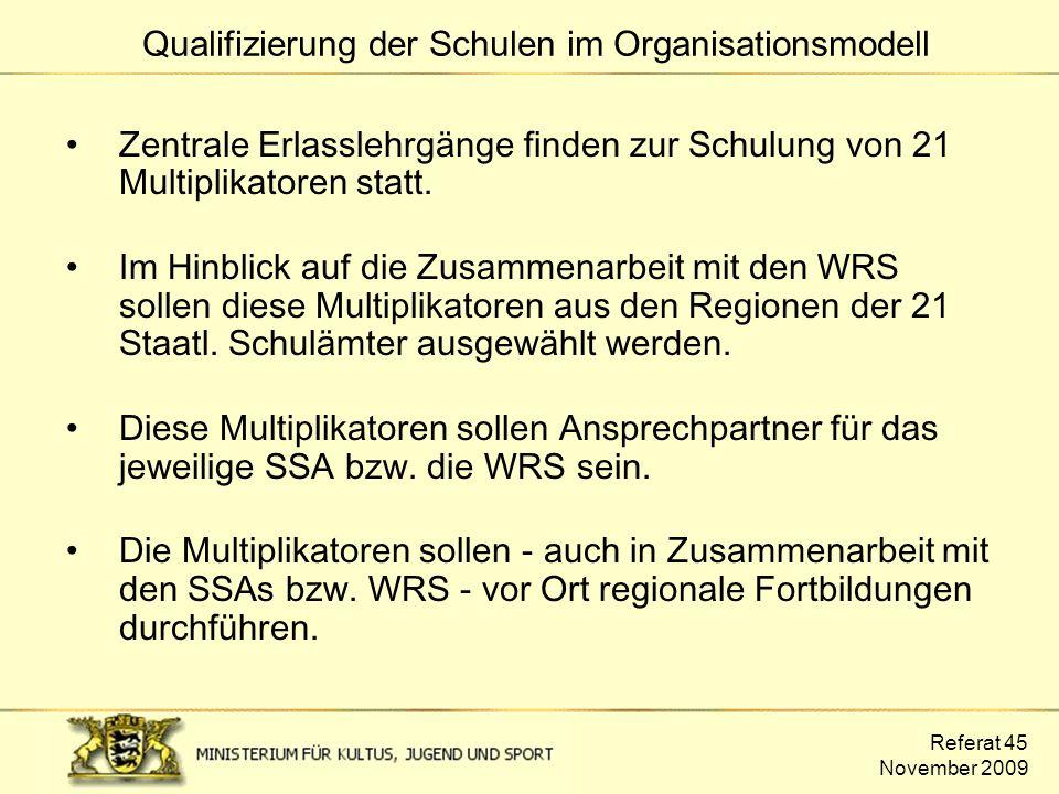 Referat 45 November 2009 Zentrale Erlasslehrgänge finden zur Schulung von 21 Multiplikatoren statt. Im Hinblick auf die Zusammenarbeit mit den WRS sol